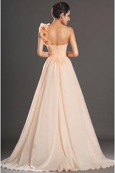 Vestido de fiesta Elegante Corte Recto Un sólo hombro Un tirante con flor