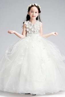 Vestido niña ceremonia Organza Corte-A Hasta el Tobillo Formal Falta Flores