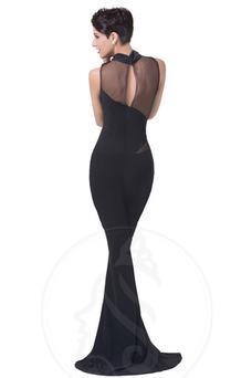 Vestido de noche Delgado Otoño Escote con cuello Alto Cremallera Corte Sirena