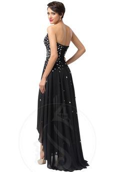 Vestido de noche Gasa Falta Asimétrico Dobladillo Cordón Natural Elegante