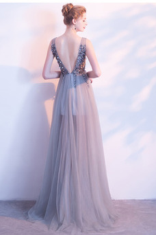 Vestido de noche primavera Drapeado Corpiño Acentuado con Perla Natural