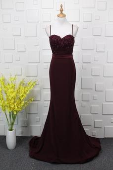 Vestido de noche largo Natural Falta Elegante Corpiño Acentuado con Perla