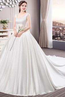 Vestido de novia Cola Real Drapeado Satén Iglesia Cordón Triángulo Invertido