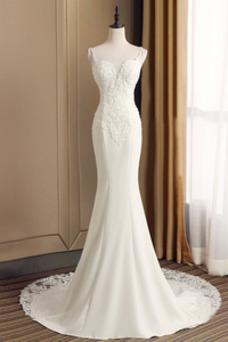 Vestido de novia Pera Natural Capa de encaje Cremallera Satén largo