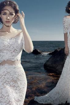 Vestido de novia Corte Sirena Natural Capa de encaje Playa Triángulo Invertido