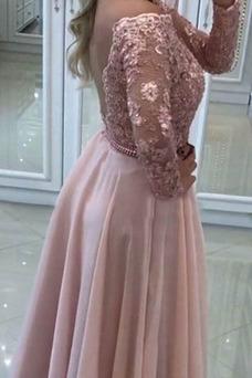 Vestido de fiesta Elegante Espalda Descubierta Capa de encaje Pera Natural