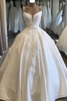 Vestido de novia Sala Natural Pera Espectaculares Escote de Tirantes Espaguetis