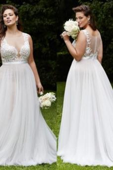 Vestido de novia Corte-A primavera Transparente Hasta el suelo Rectángulo