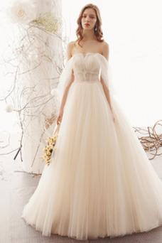 Vestido de novia Playa Escote con Hombros caídos Corte-A Pera Hasta el suelo