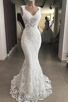 Vestido de novia Moderno Natural Apliques Verano Corte Sirena Sin mangas