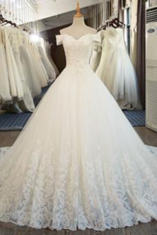 Vestido de novia Encaje Sin mangas Iglesia Natural Corpiño Acentuado con Perla