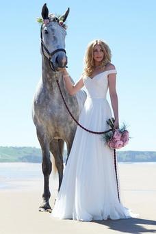 Vestido de novia Escote con Hombros caídos Verano Natural Encaje Sencillo