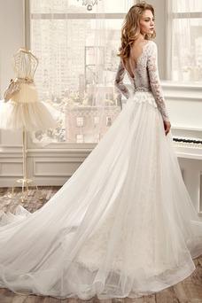 Vestido de novia Apliques Mangas Illusion Espalda medio descubierto