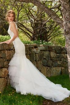 Vestido de novia Corte Sirena Escote en V Cola Capilla primavera Clasicos