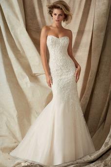 Vestido de novia primavera Encaje Natural Apliques Sala Escote Corazón