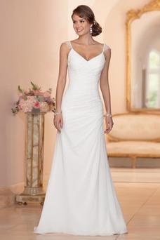 Vestido de novia Playa largo Corte Recto Escote en V Botón Sin mangas
