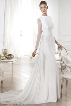 Vestido de novia largo Botón Con velo Sala Invierno Mangas Illusion