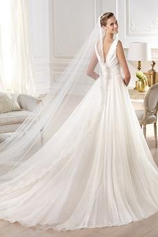 Vestido de novia Clasicos Con velo Escote en V Sin mangas Cola Capilla