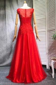 Vestido de dama de honor Falta Apliques Elegante Barco Corte-A Natural