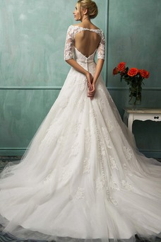 Vestido de novia Manga de longitud 3/4 tul Cintura Baja Barco Cremallera