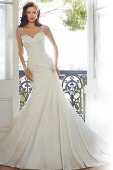 Vestido de novia Escote Corazón Manga tapada largo Corte Sirena Natural