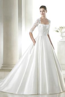 Vestido de novia Mangas Illusion Escote Cuadrado Sala Alto cubierto