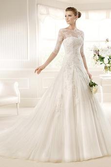 Vestido de novia largo Con velo Encaje Natural Corte-A Manga de longitud 3/4