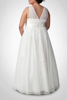 Vestido de novia Sala tul Corte-A Espalda medio descubierto Escote en V