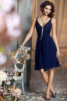 Vestido de dama de honor Verano Escote en V adulto Baja escote en V Gasa Natural