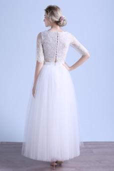 Vestido de novia tul Manga corta Camiseta Natural Botón Corte-A