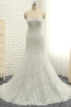 Vestido de novia Corte Sirena Cordón Falta Sala tul Natural