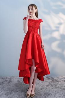 Vestido de cóctel Satén Cordón Abalorio Escote con Hombros caídos Moderno