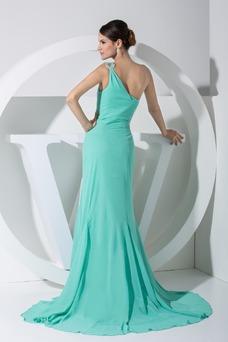 Vestido de fiesta Escote Asimètrico Espalda Descubierta Gasa Corte-A