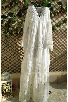 Vestido de novia Imperio Manga larga Hasta el suelo Alto cubierto Imperio Cintura