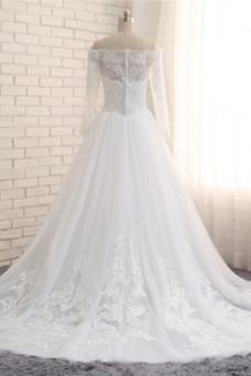 Vestido de novia Mangas Illusion Escote con Hombros caídos Otoño tul