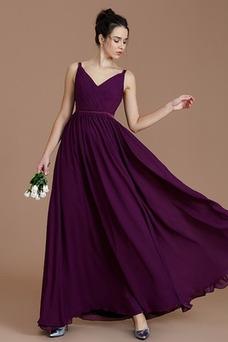 Vestido de dama de honor Gasa primavera Baja escote en V Corte-A Natural Escote en V
