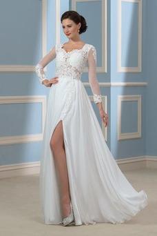 Vestido de novia sexy Corte-A Cola Barriba Natural Apliques Verano