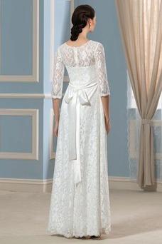Vestido de novia Tallas grandes La mitad de manga Imperio Cremallera