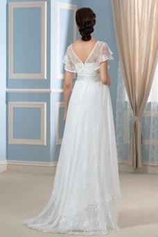 Vestido de novia Asimètrico Escote en V Fuera de casa Fajas Asimétrico Dobladillo