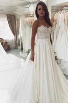 Vestido de novia Escote Corazón Tallas pequeñas Corte-A Satén Hasta el suelo