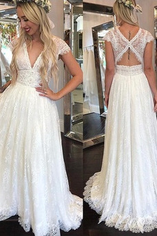 Vestido de novia Espalda medio descubierto Escote en V Falta Hasta el suelo