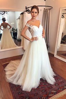 Vestido de novia Capa Multi Cremallera Natural tul Sin mangas Manga tapada