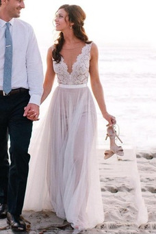 Vestido de novia Encaje Verano Moderno Natural Baja escote en V Capa de encaje