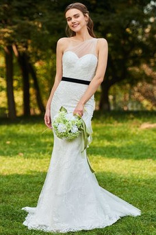 Vestido de novia Moderno Sin mangas Natural Un sólo hombro Lazos Encaje