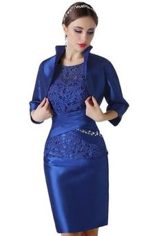 Vestido de madrina Drapeado Camiseta Cremallera Capa de encaje Corte Recto