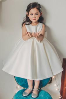 Vestido niña ceremonia Cremallera Satén Lazos Joya Corte-A Arco Acentuado
