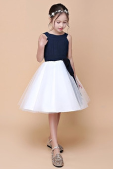 Vestido niña ceremonia Corte-A Lazos Sin mangas primavera Falta Cremallera