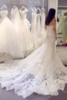 Vestido de novia Cordón vendimia Satén Sin tirantes Apliques Corte Sirena