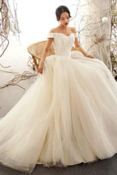 Vestido de novia Apliques Escote con Hombros caídos Oscilación Natural