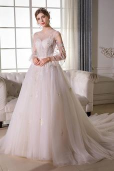 Vestido de novia Sala largo Barco Manga larga tul Natural